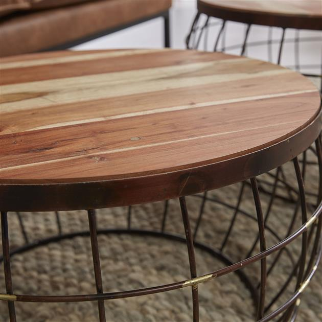 Salontafel set/2 houten top/wire