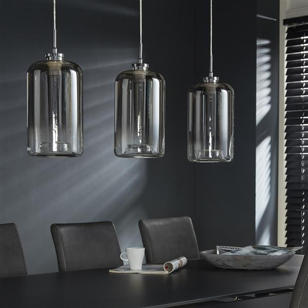 Hanglamp 3L glass metallic grey finish