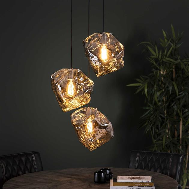 Hanglamp 3L rock chromed getrapt